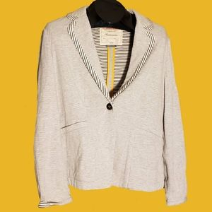 Anthro Yellow Trim Grey Blazer Black Striped Liner